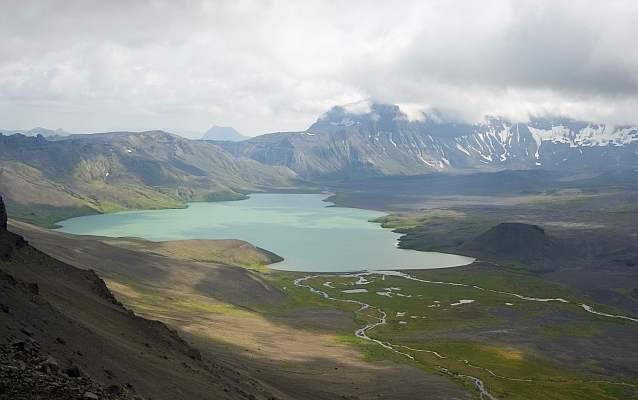 view of surprise lake from the rim of the aniakchak crater