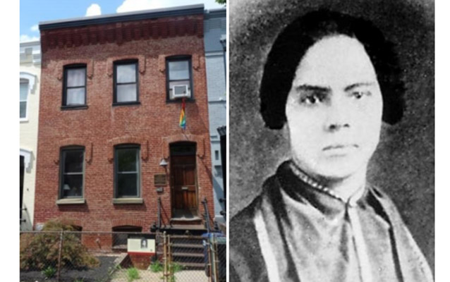 Left: exterior image of a red brick row house; right: portrait of an African American woman