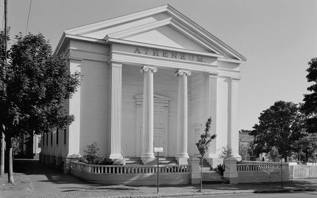 Exterior of a building with large columns in front