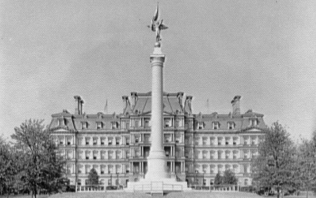 The First Division Monument, a tall stone column topped with a winged figure.