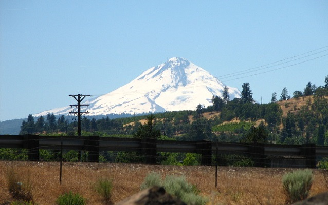 view of mount hood from rock fort campsite