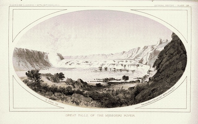 drawing of the great falls in montana