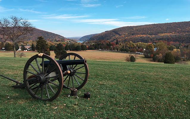 Artillery piece on Bolivar Heights; in the background is the gap in the mountains at Harpers Ferry