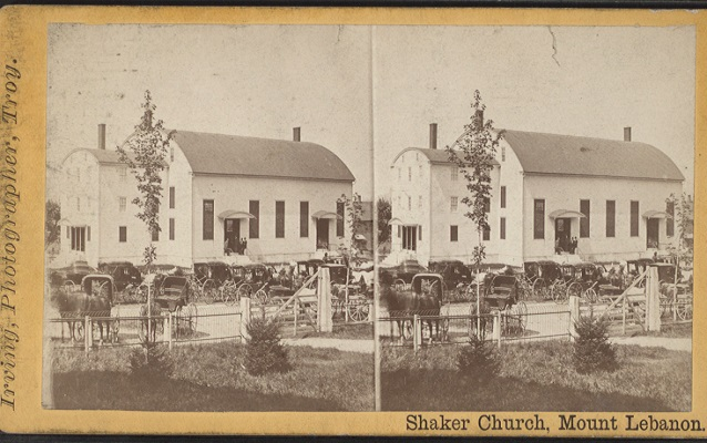 historic photo of a white shaker church
