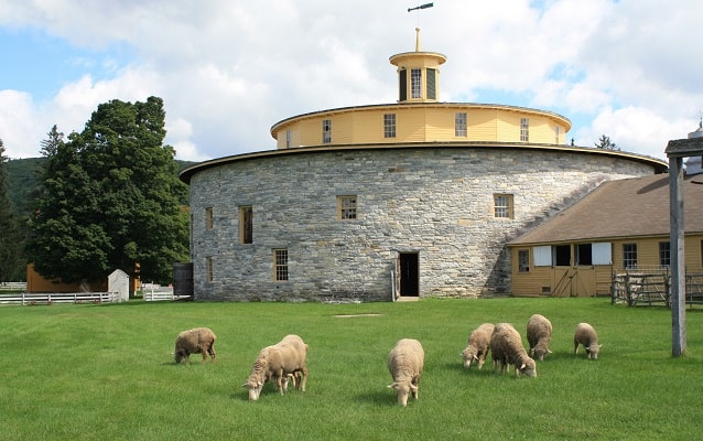 sheep grazing in front of a circular, stone barn