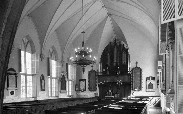 Black and white photo of inside of church, circa 1933.