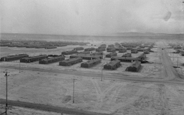 Birds-eye view of rectangular barracks in the Central Utah Relocation Center, circa 1943.
