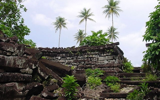 Tropical plants and palm trees growing over stone ruins.
