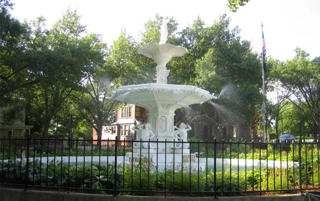 The 12-ton, 20-foot-tall cast-iron fountain has cast zinc statues and rests on an octagonal base
