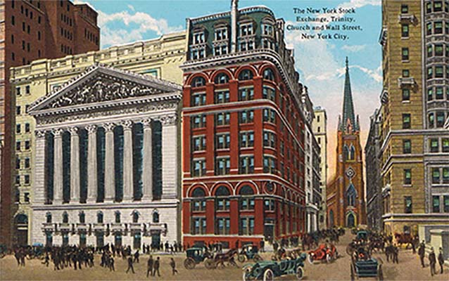 Postcard of the exterior of the New York Stock Exchange with people and cars in the foreground.