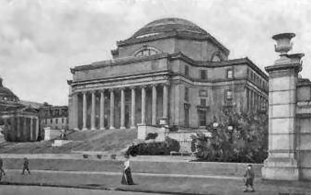 Exterior view of Low Memorial Library, ca. 1905 with men and women walking out front.