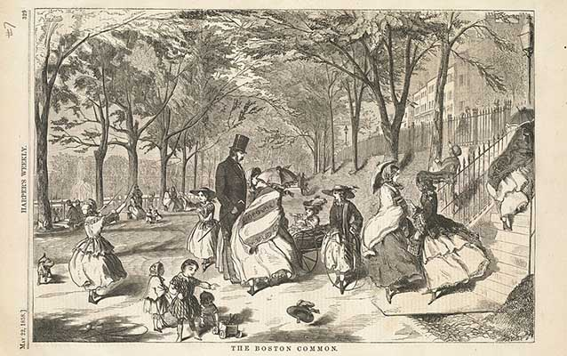 Engraving of people on the Boston Common, 1858. Boston Public Library