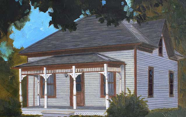 A painting depicts a two-story cream colored house with brown trim.