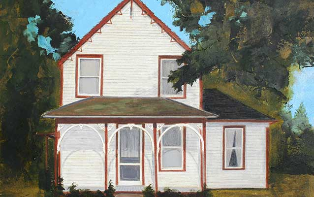 A painting depicts a yellow two story house has brown trim and Carpenter Gothic gingerbread.