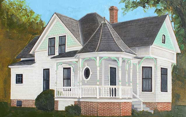 A painting depicts a white and blue house with a big porch and a round pointed roof.