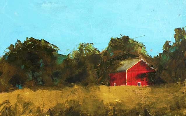 A painting depicts a red barn shaded by trees as seen from the golden tallgrass prairie.