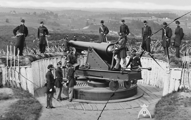 Sergeants of 3rd Masachusetts Heavy Artillery, with gun and caisson at Fort Totten.
