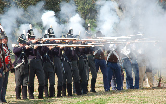7th infantry firing at a Battle of New Orleans commemoration