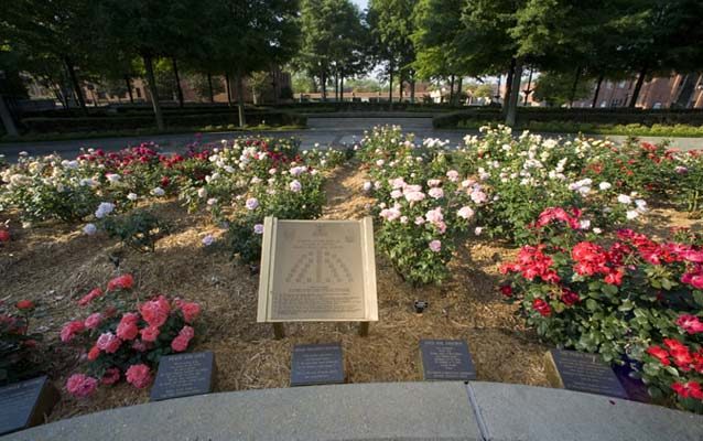 Roses and plaques arranged in a circle