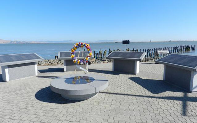 Memorial with wreath at site of Port Chicago disaster