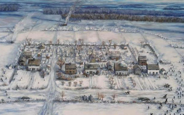 A painting depicts a snow-covered village of houses and tents.