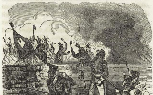A woodcut drawing of American soldiers attacking Creek Indians behind a wooden barricade.