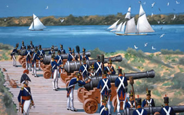 Color painting of cannons and their crew along the river.