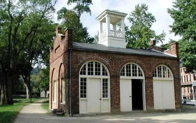 "Photo of the Harpers Ferry armory engine house, later known as ""John Brown's Fort,"" in its current location."