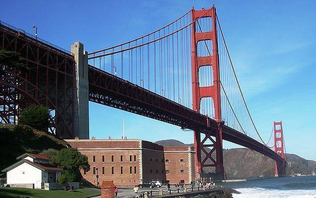 Fort Point, with Golden Gate bridge in background