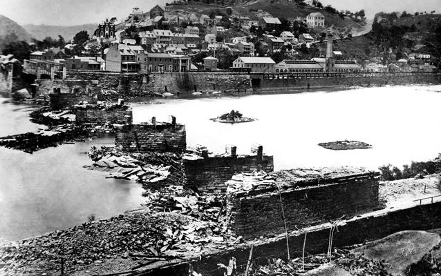 Historic Photograph of the B&O Railroad Ruins at Harpers Ferry