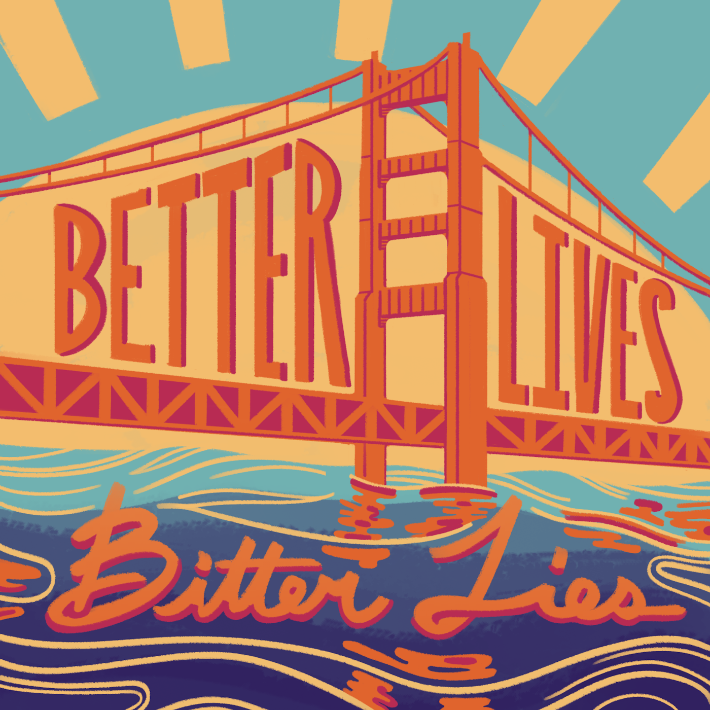 Colorful graphic of a gold bridge over blue water with lettering across the bridge, and under it