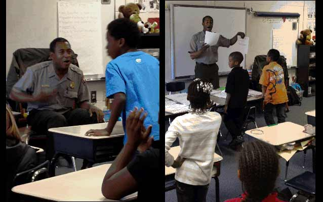 Park Ranger conducting program at Goodyear Elementary