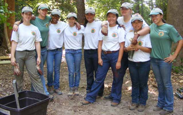 The Youth Conservation Corps team at their work site at Chippokes Plantation State Park in Virginia, 2011.