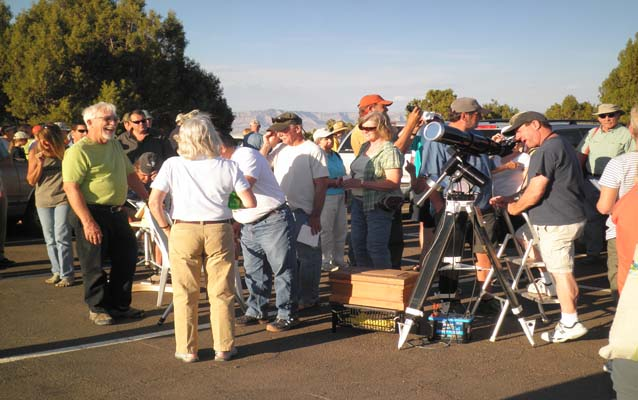 Visitors lining up for evening Astronomy Programs
