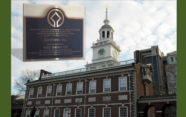 Independence Hall and the World Heritage Site Designation Plaque