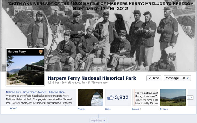 A snapshot of the Harpers Ferry National Historical Park's Facebook page