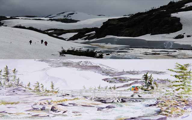 Photo of Chilkoot Trail Hikers and painting of hikers on the Chilkoot Trail