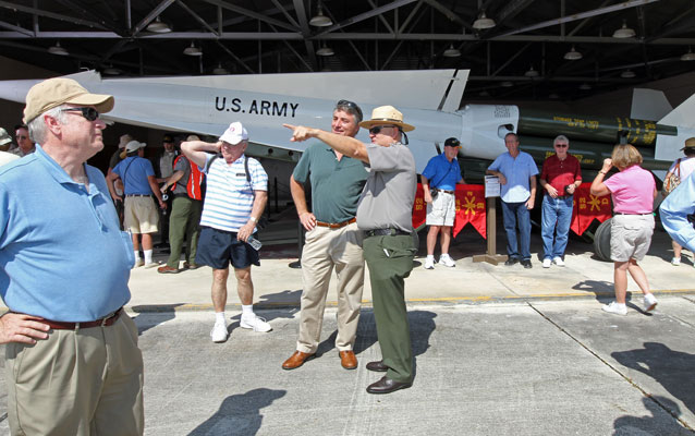 Nike Missile Veterans and family members are the first to view a new display at EVER