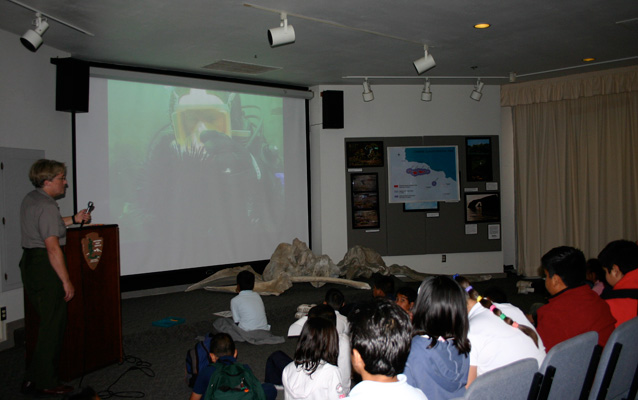 Students watching Channel Islands Live Broadcast