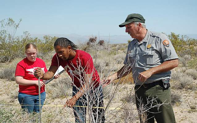 High School students learn vegetation transect methods from park biologist