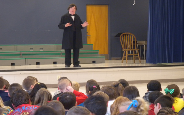 Andrew Johnson living history performer speaks to school children