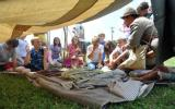 Students explore a Civil War camp