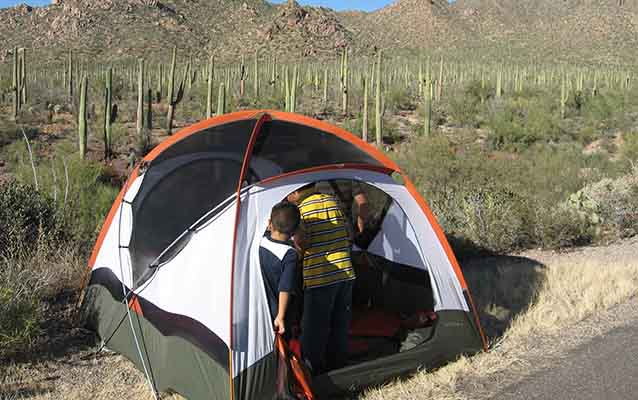 Children explore a tent with a backdrop of the Sonoran Desert behind the tent .