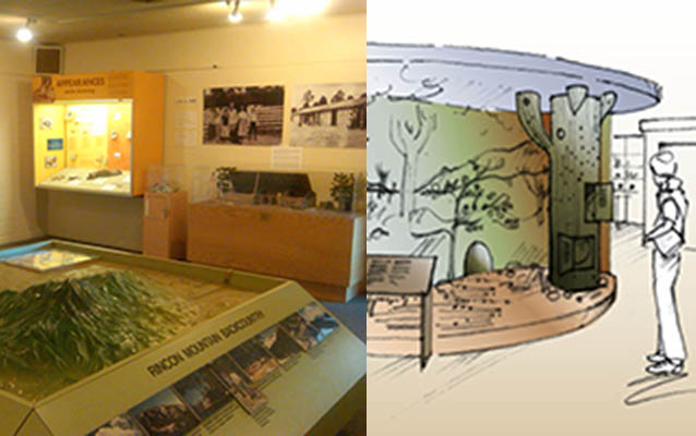 Exhibits original to building from the 1950s and one of the schematic drawings for the new exhibits in development