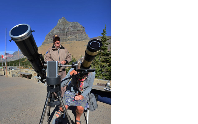 Solar telescopes set up at the Logan Pass Parking Area
