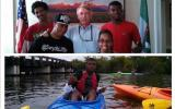 YAP! members with Director Jon Jarvis and YAP! member Soulo in a blue kayak