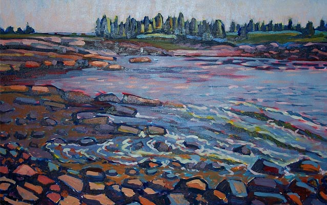 A painting of a rocky shore, with cool colors