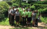 Park Superintendent, staff, and volunteers in park gardens.