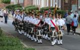A pipe and drum band parade on Governors Island, a first in over 50 years.
