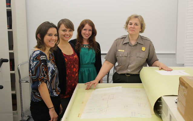 Graduate students and park staff working in collections